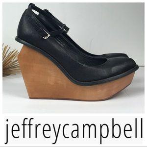 Rare Jeffrey Campbell Black Platform Wedges Heels